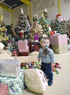 Toddler in front of christmas trees